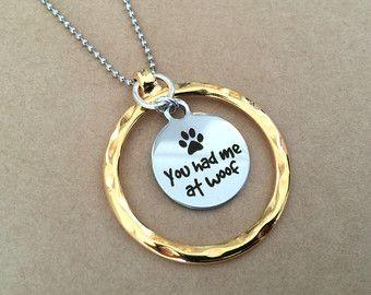 Me tenias en tejido de plata y chapado en oro collar de encanto perro bola cadena - Paw Print, perro amante collar, collar de encanto