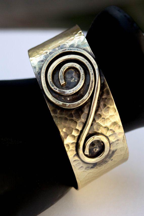 Handmade hammered brass bracelet.