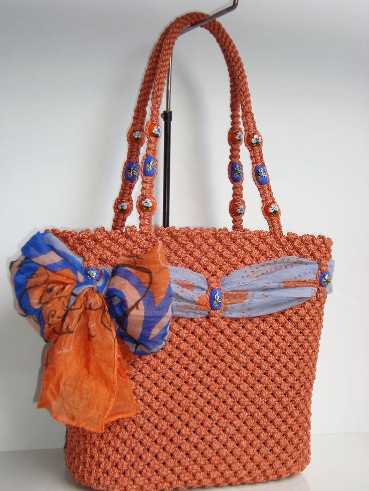 Orange Macrame bag,handmade,tote,purse,handbag