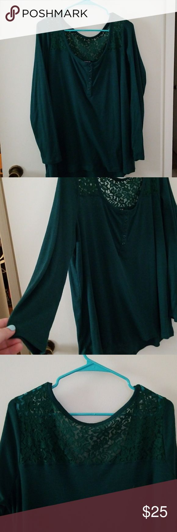 Torrid long sleeve teal shirt Long sleeve teal shirt with lace on the shoulders and back, as seen in the photos. Worn once. One dog home. torrid Tops Tees - Long Sleeve
