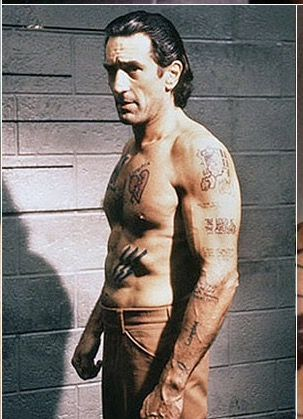 A ripped Robert de Niro, with jailhouse tattoos for his role as ex-con in Scorsese's Cape Fear movie