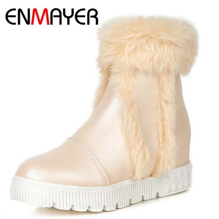 ENMAYER Европа Импортировала Женщины Ботильоны Морден Езда Конный Короткие Ботинки Теплые Меховые Сапоги Снега Сапоги Круглый Носок Панк Стиль