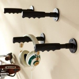 Handle Hooks Novelty Bike Handle Hooks 2.5 diameter, 7 long Made of zinc, steel and rubber. Mounting hardware included. The
