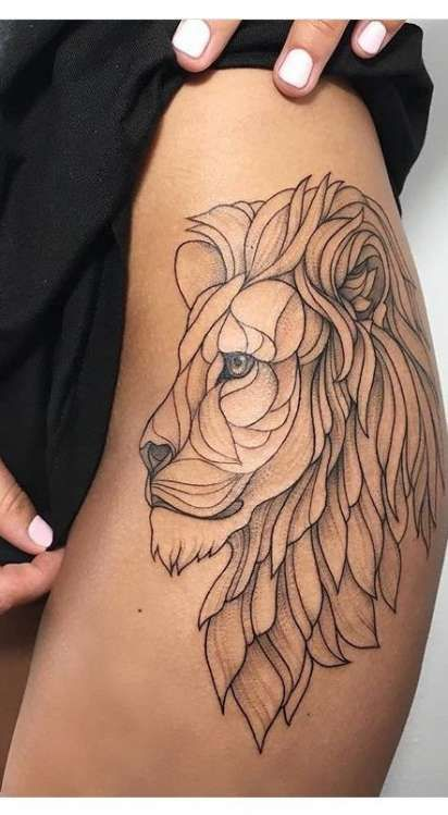 Tattoo lion leg girl 25+ best ideas