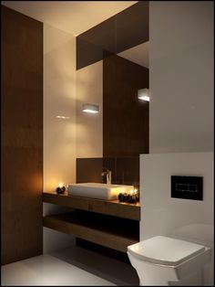 modern bathroom softened by the candles!