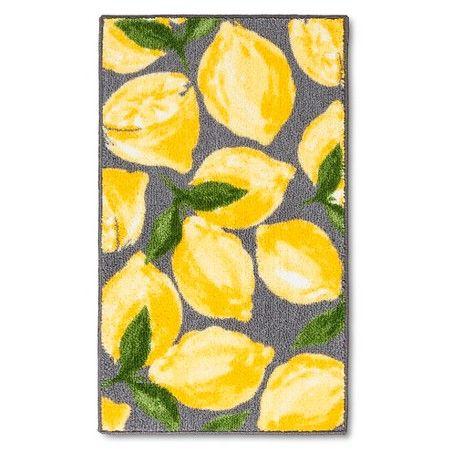 "Threshold™ Lemons Kitchen Rug - Gray/Yellow (30x46"" ) : Target"