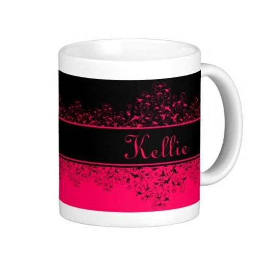 Beautiful Pink And Black Swirly Vines Monogram - This beautiful mug is black and pink, split into two by a black monogram ribbon. The top is black with delicate, girly, pink, swirly leaves and vines, and the bottom is pink with black swirly vines. This is a very fun and bold yet feminine mug.