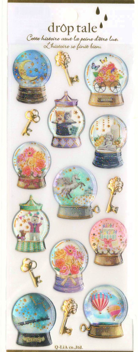 Kawaii Japan Sticker Sheet Assort Droptale Series: Snow Globe Animals Cats Unicorn Zodiac Sign Constellation