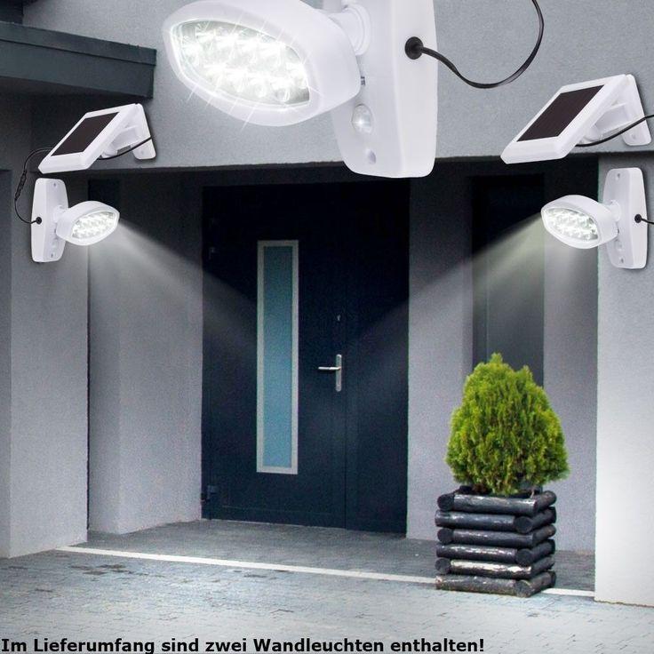 2xLED Solar Wand Leuchten mit 90° Bewegungsmelder Senor Hof Haus-Tür Außen Lampe