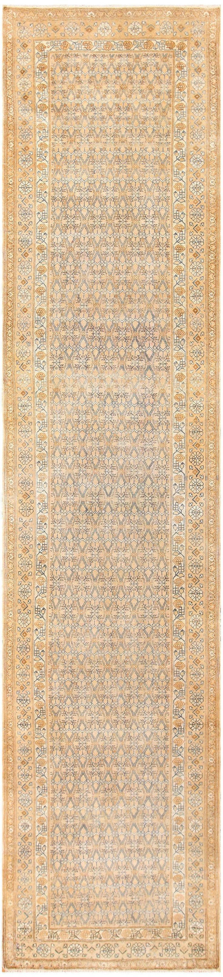 View this beautiful antiqueAlabaster colored antique Persian Malayer runner rug #50427 from the Namiyal Collection in Manhattan, New York City.