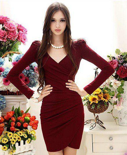 Бесплатная доставка элегантный v ошейник с длинным рукавом плиссированные dress красное винокупить в магазине Sunny  Zhu's store(  Exquisite  High-quality  Fashion) наAliExpress