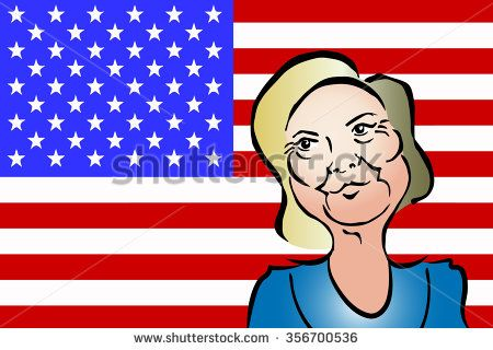 Hillary Clinton Caricature Colored Vector