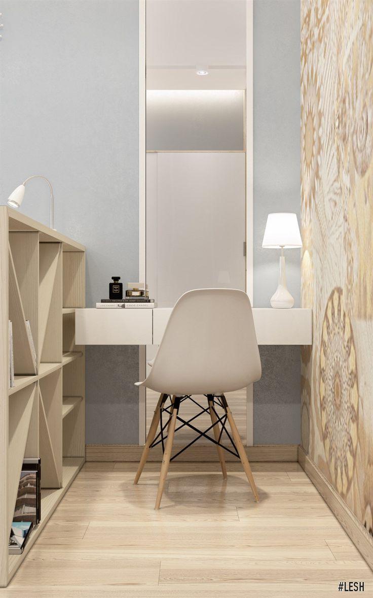 Туалетный столик в спальне | Студия LESH (туалетный столик, бежевый, напольное зеркало, спальня для женщины)