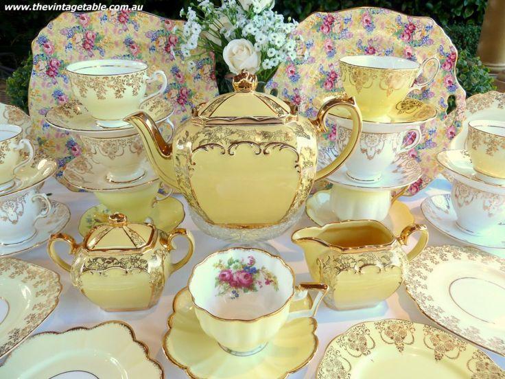 Vintage lemon yellow tea set and bone china trios.