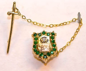 Sweet Phi Delta Theta emerald badge with removable sword.