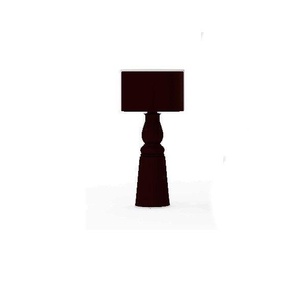 Lámpara de pie con base de madera y fibra de vidrio en tres acabados: negro, rojo o blanco. Disponible en tres tamaños: 150 cm Pequeño,187 cm Mediano y 240 cm Grande. Pantalla en dos formatos redonda u ovalada (Incluida). Portalámparas preparado para dos bombillas Ecohalógenas E27 de 48w.  Diseñado por Marcel Wanders.   Referencias Farooo PIE - Moooi: