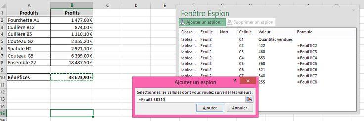 Excel 2010 : la fenêtre espion - Fiche pratique Excel, Informatique & Bureautique