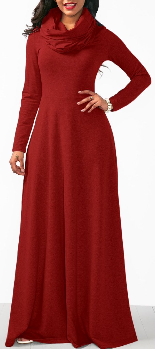 Wine Red Long Sleeve Cowl Neck Maxi Dress