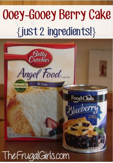 Angel Food Berry Cake 2 ingredients Mix together, 1 Angel Food cake mix (dry) and 1, 20 or 22 ounce can of fruit pie filling. That's it! Bake in an ungreased 9x13 pan at 350 for 28-30 minutes. It will puff up.