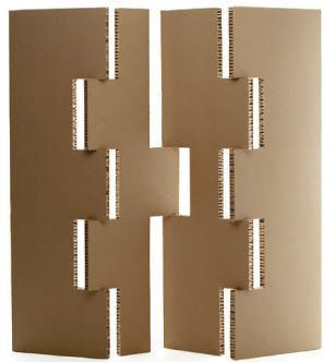 Spacedividers from Cardboarddesign, constructed from corrugated cardboard.