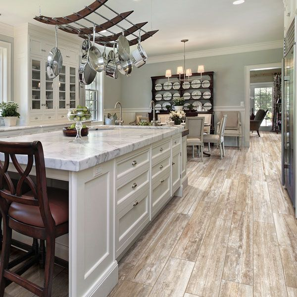 Traditional Meets Modern Kitchen With Wood Plank Porcelain Tile Djoeke Floor Decor Housetrends Renovaciones Floors Flooring