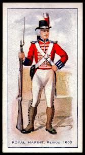 Cigarette card of a Royal Marine c. 1805 in parade dress (note the powdered hair)