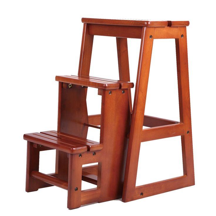 moderne multifunktionale drei schritt bibliothek leiter stuhl bibliothek m bel folding h lzernen. Black Bedroom Furniture Sets. Home Design Ideas