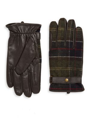 BARBOUR Plaid Snap Leather Gloves. #barbour #