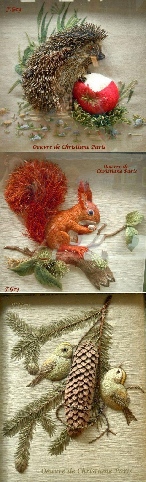 Изумительная объемная вышивка Christiane Paris (Бельгия)   Вышивка   Постила