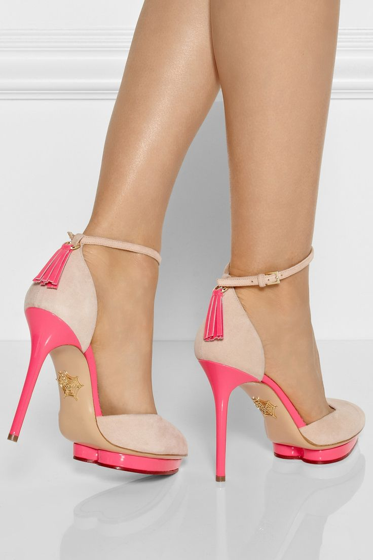Charlotte Olympia|Heather patent leather-trimmed suede pumps|NET-A-PORTER.COM
