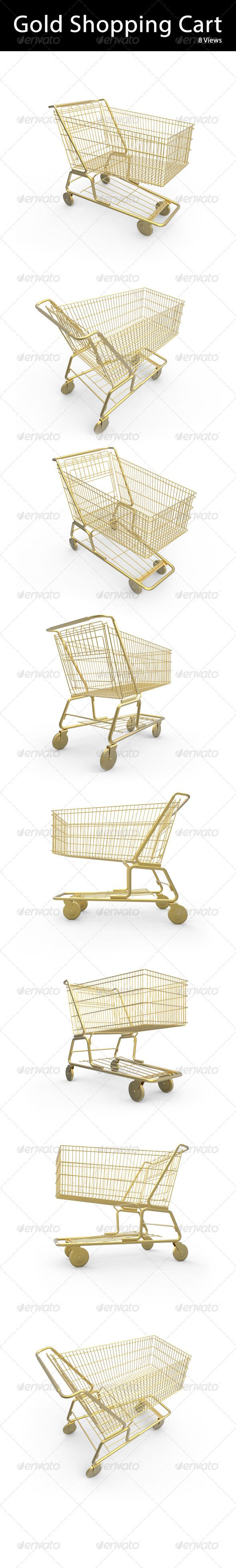 A shopping cart made of gold and isolated on white. 3400x3400px Resolution in 100 transparent background.