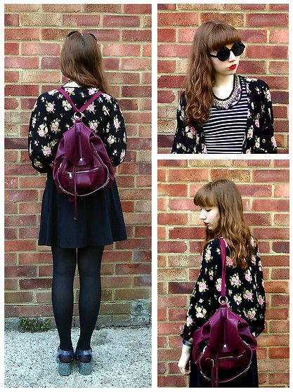 Get this look: http://lb.nu/look/6210615  More looks by Emily May: http://lb.nu/emily_may_  Items in this look:  Forever 21 Flowery Jacket, Urban Outfitters Burgundy Backpack, Topshop Black Jersey Skater Skirt, Ju Ju Glitter Jelly Shoes, Urban Outfitters Black Round Sunglasses, H&M Coloured Stones Necklace, New Look Striped Crop Top   #flowery #florals #burgundy #backpack #forever21 #urbanoutfitters