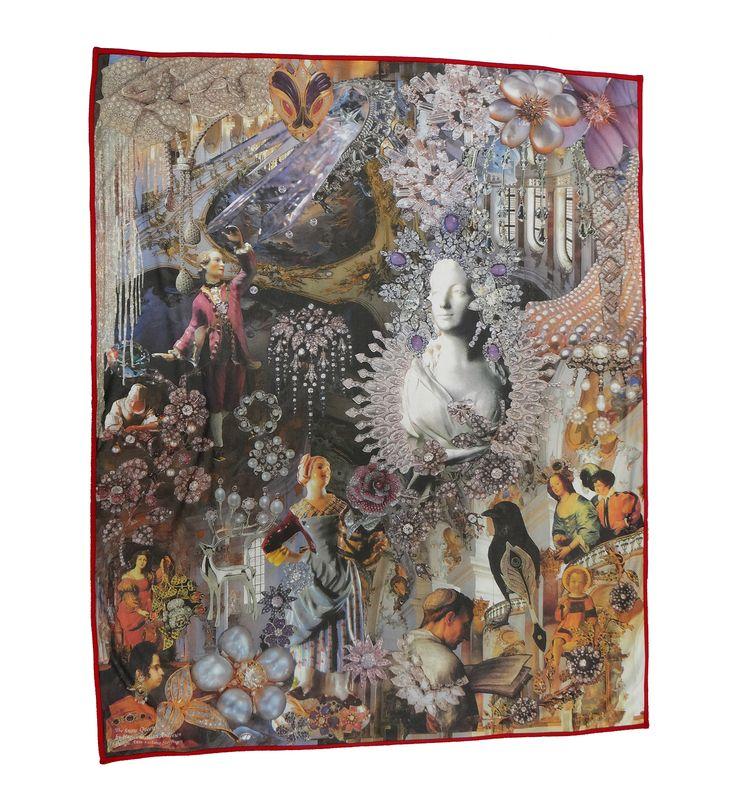 Bomulds plys tæppe, illustreret med den berømte historie Snedronningen af HC Andersen #snedronningen #hcandersen #tæppe #kunst #eventyr #håndlavet #butik #købe #tæppesalg #digitalttrykt #hjemdesign #trykt #indretning #interiørdesign #luksus #historie #tilseng