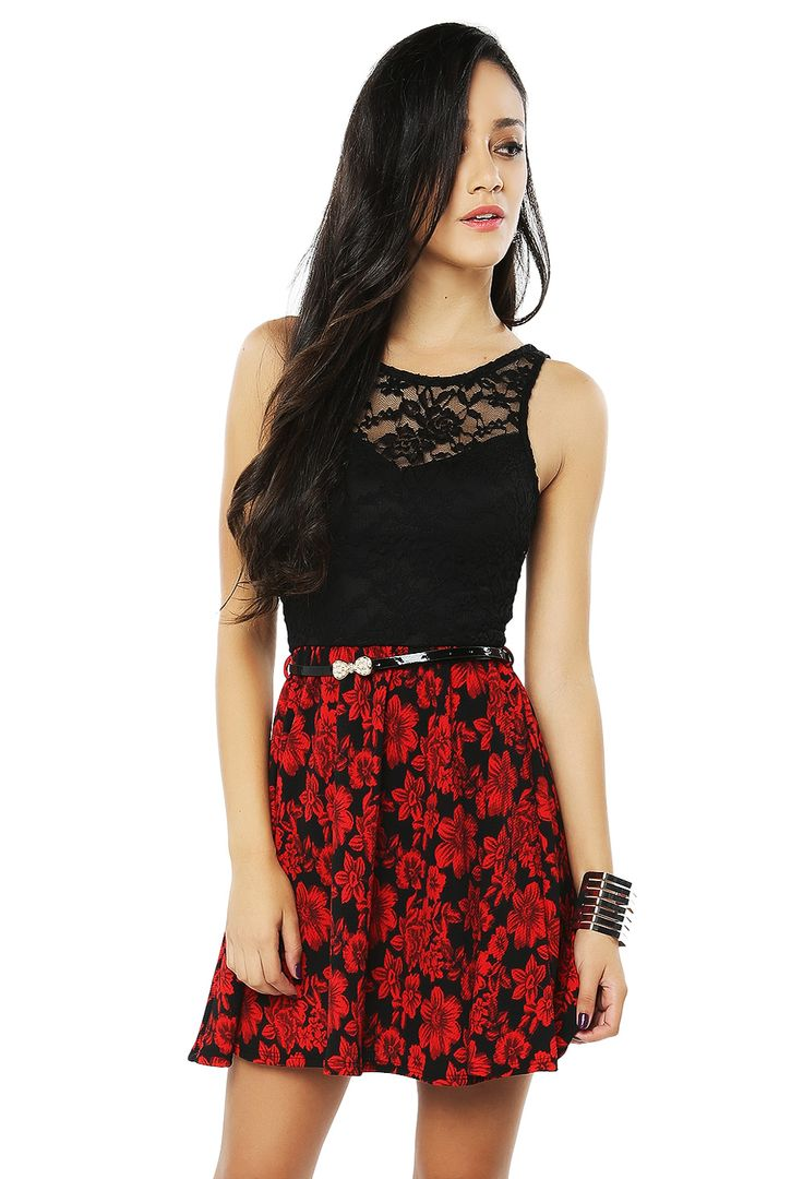 Papaya Clothing Online :: FLORAL LACY BELTED DRESS from Papaya clothing