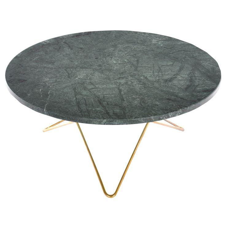 O sohvapöytä, vihreä marmori/messinki ryhmässä Huonekalut / Pöydät / Sohvapöydät…