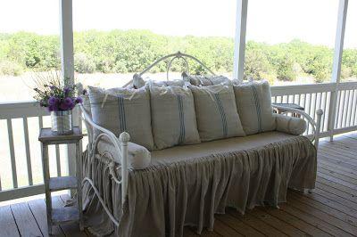 Dreamy Daybed Redo with Feedsacks and Linen - Cedar Hill Farmhouse