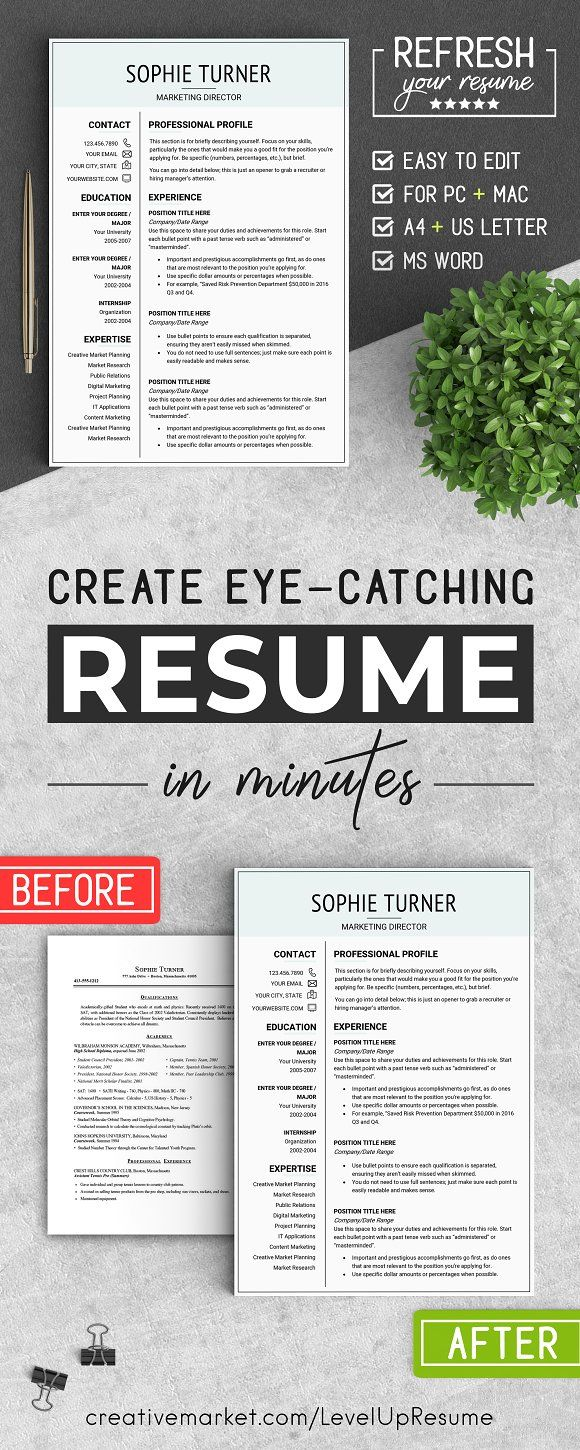 Professional RESUME Template A4 & US by LevelUpResume on @creativemarket