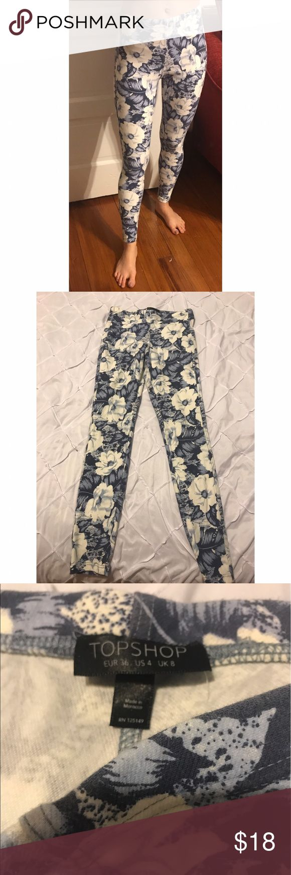 Topshop Leggings These are a pair of topshop leggings. They have a gorgeous flower design on them and are a size 4. There is a small stain on them photographed in the last photo. Good condition. Topshop Pants Leggings
