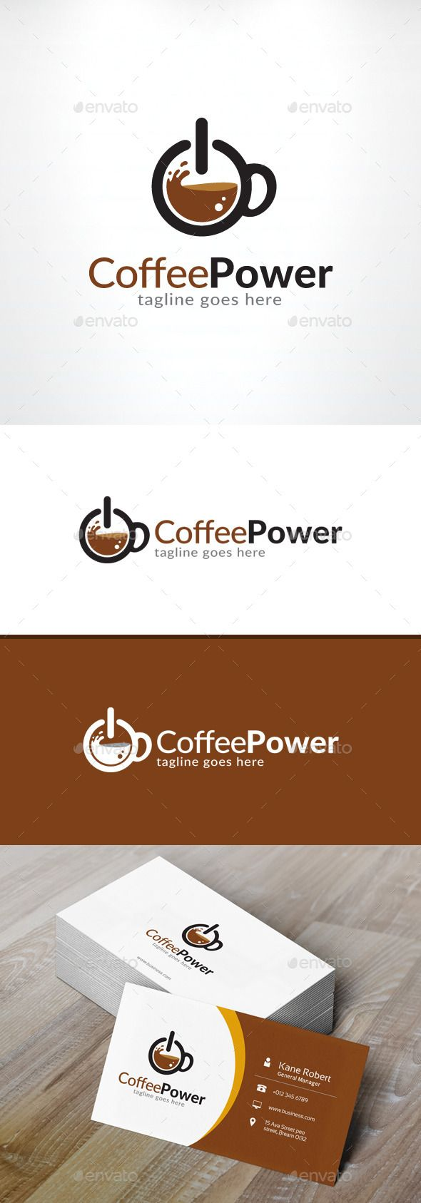 The coffee power logo three simple shapes. It turns the commonly found power ON/OFF logo and turned it into a coffee pot. Possibly used for a cafe
