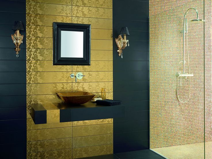 Looking To Add Some Golden Luxury To Your Bathroom? The Pure Golden Feature  Mosaic Tiles