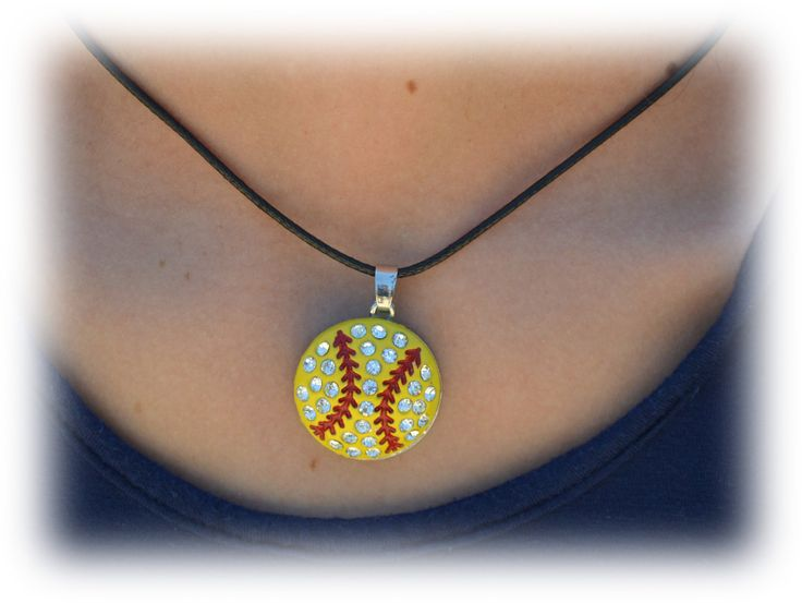Softball Necklace Large Pendant Softball Necklace by SportyChicas, $8.00