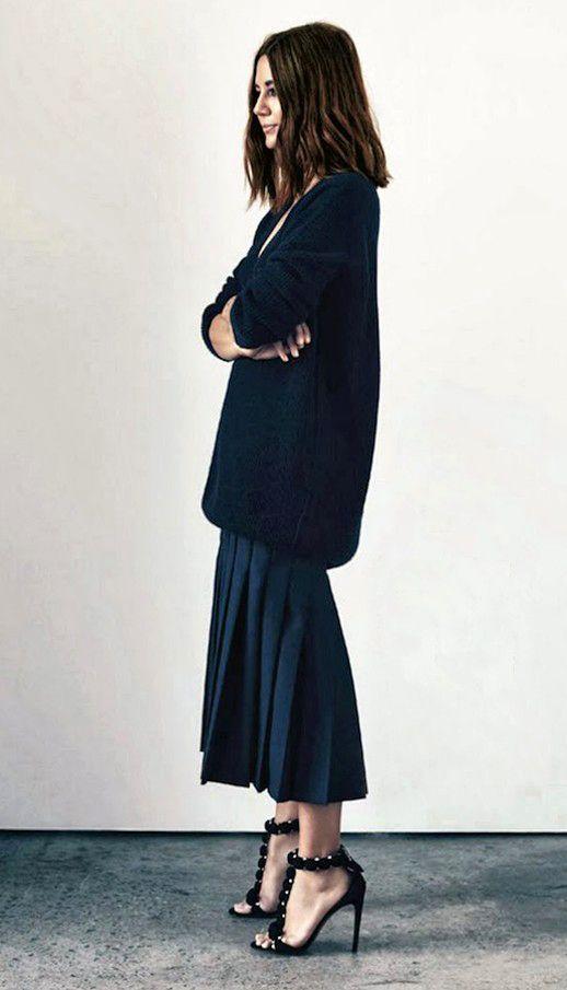 CHRISTINE CENTENERA | THIS SEASON'S NEW SILHOUETTE - long knit sweater over midi skirt