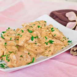 Drunken and Creamy Chicken: I substituted whole milk for half and half, and season all for Emeril's Essence. This was SO TASTY, and I will definitely be making it again!