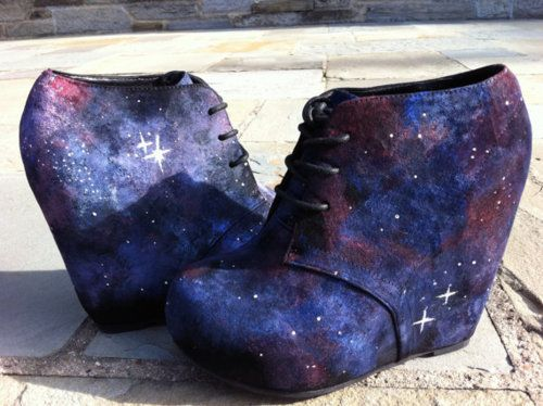 Unique Nebula Galaxy Shoes Wedges Heels