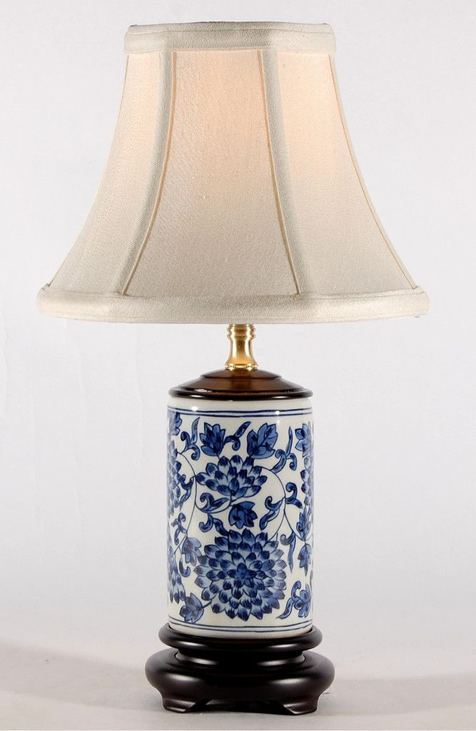 small blue white traditional cylindrical porcelain lamp. Black Bedroom Furniture Sets. Home Design Ideas