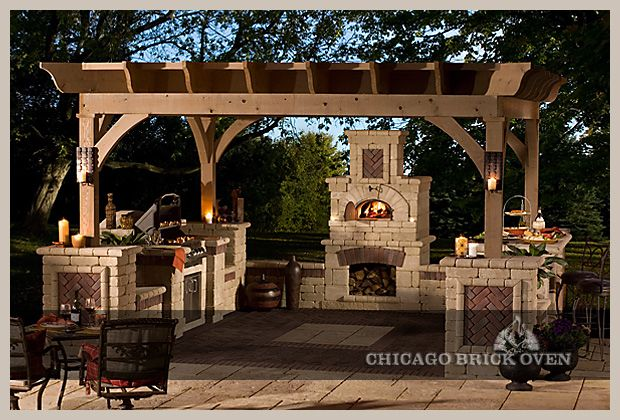 Beautiful Outdoor Living Space With Pizza Oven And Built