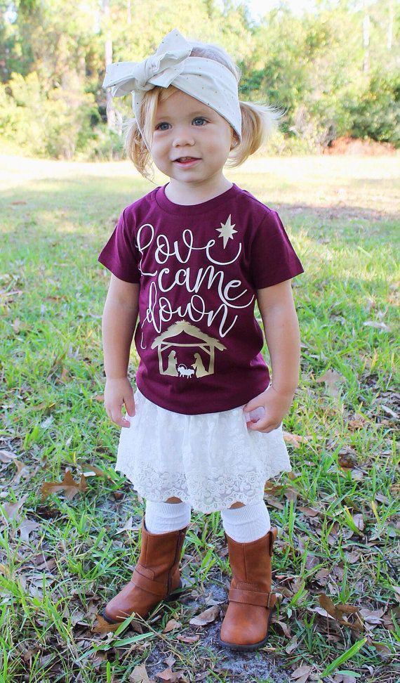 Kid's Christmas Shirt - Christian Christmas Shirt - Nativity Christmas Tee - Jesus Christmas - Love Came Down shirt - Bible shirt for kids