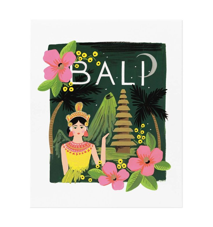 We love this Bali Illustrated Art Print – it looks especially great in our Bali frame ;)   via Rifle Paper Company – Original gouache painting by Anna Bond.
