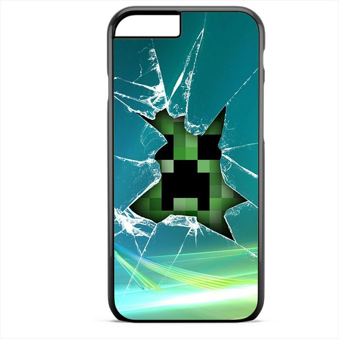 Creeper Minecraft Broken Glass Green Apple Phonecase For Iphone 4/4S Iphone 5/5S Iphone 5C Iphone 6 Iphone 6S Iphone 6 Plus Iphone 6S Plus