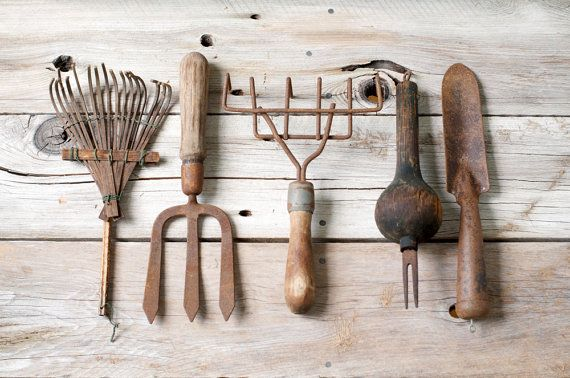 Primitive Rustic Gardening Tools  Set of 5 by HouseofSeance, $95.00